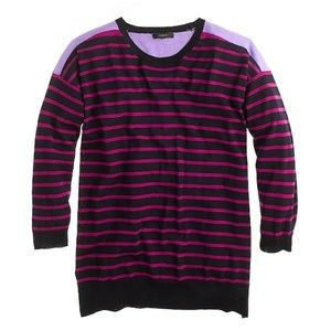 {J. Crew} Merino Wool Colorblock Stripe Sweater